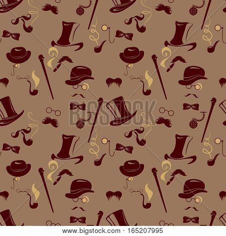 Seamless pattern in retro style. Men silhouettes smoking cigar and pipe vintage background in brown colors.