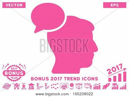 Pink Person Idea pictograph with bonus 2017 trend pictograph collection. Vector illustration style is flat iconic symbols white background.