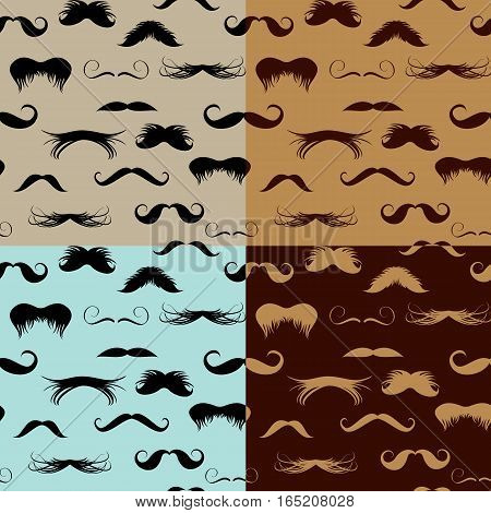 Seamless pattern with mustache on different colors backgrounds. Design elements in vintage retro hipster style.
