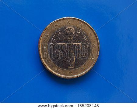 1 Euro Coin, European Union, Cyprus Over Blue