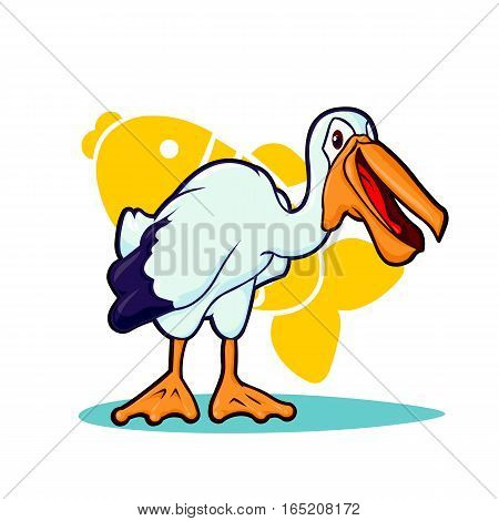 Vector illustration of Cartoon pelican logo on white background