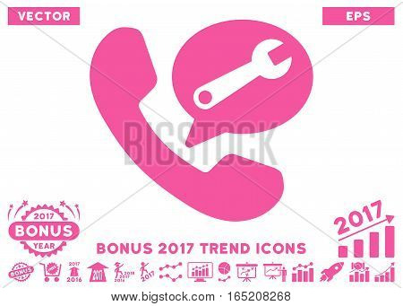 Pink Phone Service Message pictograph with bonus 2017 year trend icon set. Vector illustration style is flat iconic symbols white background.