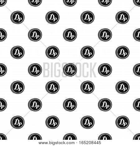 Coin with drachma of Greece sign pattern. Simple illustration of coin with Drachma of Greece sign vector pattern for web