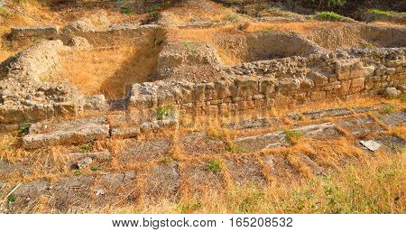 Archaeological excavations in Hersonissos on Crete island Greece.