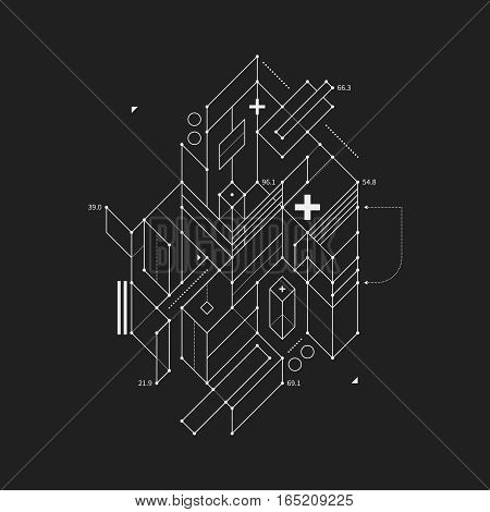 Abstract Design Element In Draft Style On Black Background. Useful For Techno Prints And Posters.