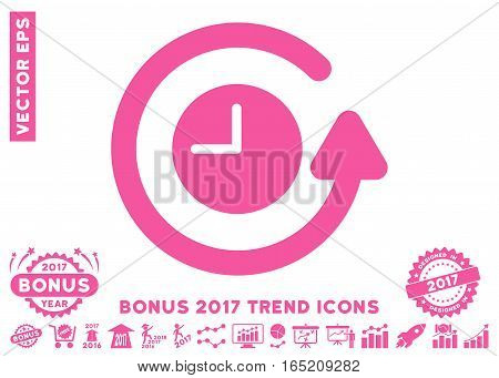 Pink Restore Clock icon with bonus 2017 year trend design elements. Vector illustration style is flat iconic symbols white background.