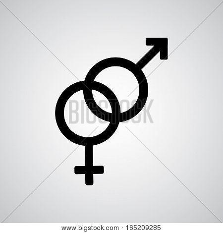 Heterosexual black symbol on the gray background