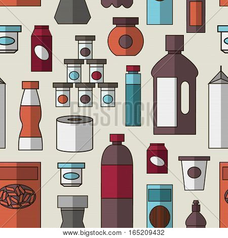 Pattern of store products in plastic and aluminum cans. Canned goods and supplies, drinks and dairy products. Retail store icon set. Isolated object on white background. Vector illustration