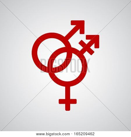 Trans gender red symbol on gray background