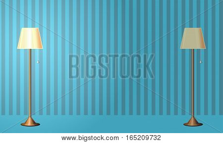 The interior of the room. Floor lamp. The light is turned on. The lights are turned off . Template for your design. Vector illustration .