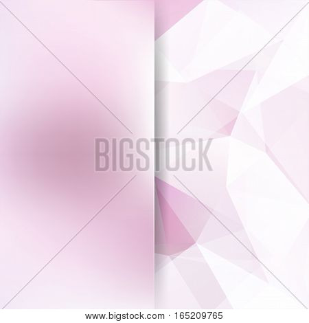 Geometric Pattern, Polygon Triangles Vector Background In Pastel Pink Tones. Blur Background With Gl