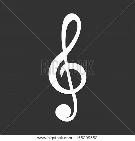 White treble clef icon isolated on grey.