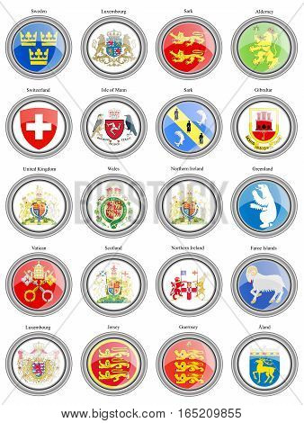 Set Of Icons. Coat Of Arms Of The Europe.
