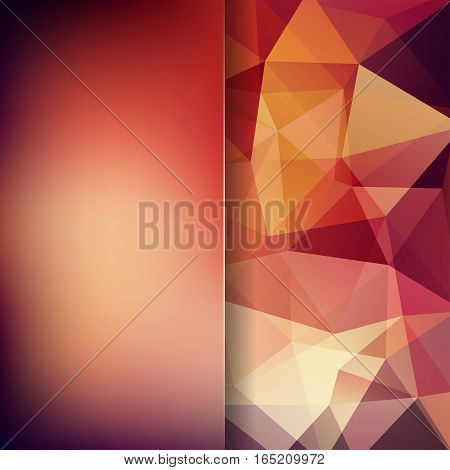 Geometric Pattern, Polygon Triangles Vector Background In Brown Tones. Blur Background With Glass. I