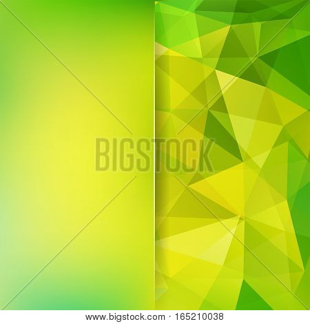 Geometric Pattern, Polygon Triangles Vector Background In Yellow And Green Tones. Blur Background Wi