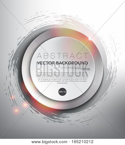 Abstract vector background. Round paper notes on the silver, hand-drawn design with realistic light and shadow on the white background. Vector illustration. Eps10.