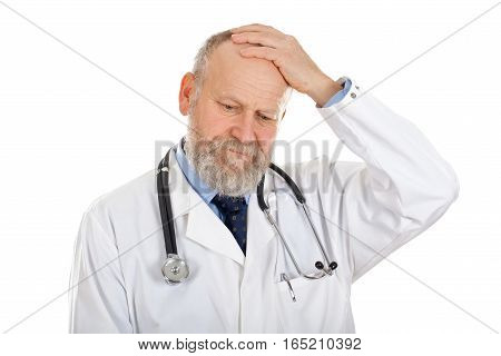 Picture of a confident doctor having a headache