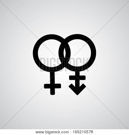 Trans gender black symbol on gray background