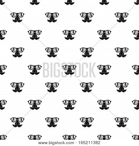 Comedy fake nose mustache, eyebrows, glasses pattern. Simple illustration of comedy fake nose mustache, eyebrows, glasses vector pattern for web