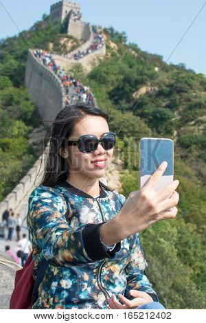Girl Making Selfie At The Great Wall Of China