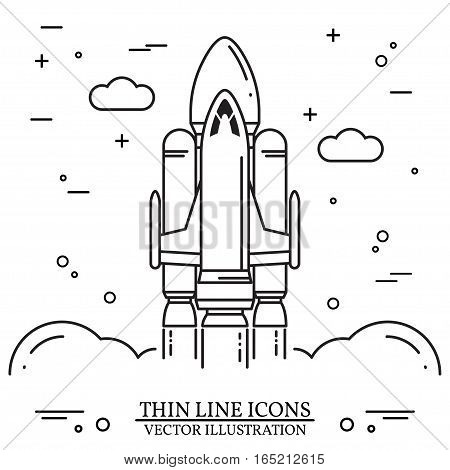 Space shuttle takes off on the white background. Human mission to Mars. For web design and application interface, also useful for infographics. Space shuttle thin line icon. Vector Illustration.