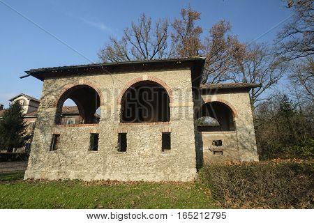 Monza (Brianza Lombardy Italy): old farmstead of Mulini Asciutti into the Park in november
