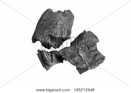Charcoal isolated on white background, charcoal on white background