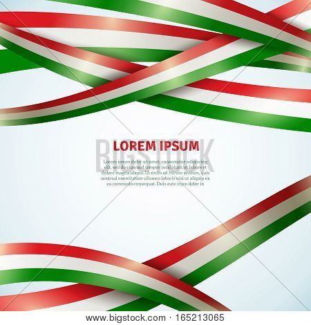 Flag bright ribbon background for decoration and business flat vector illustration