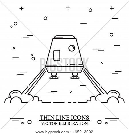 Space module landing on Mars on the white background. Human mission to Mars. Space future home for humans on the Mars. Thin line icon. Vector Illustration.