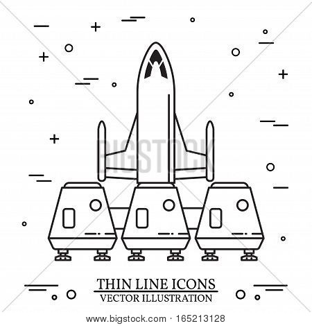 Space house for living on Mars. Human mission to Mars. For web design and application interface, also useful for infographics. Thin line icon. Vector Illustration.