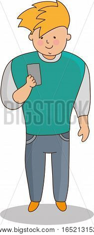 A young man of European appearance in pants and a sports jacket looking phone. The image on a white background. Flat cartoon vector isolated illustration.