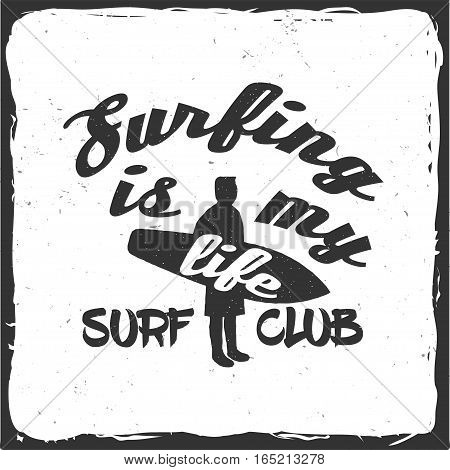 Summer surfing retro badge with surfer and board. Surfing concept for shirt or logo, print, stamp. Vector illustration.