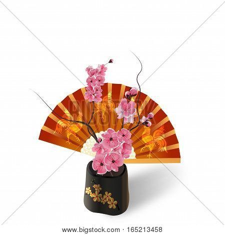 Ikebana. Sakura on the background of a fan with a picture of the cock. Isolated on white photo-realistic. vector illustration
