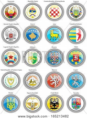 Set Of Icons. Coat Of Arms Of The Europe. Vector.