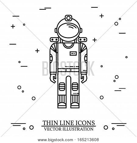 Astronaut in space. Human mission to Mars. For web design and application interface, also useful for infographics. Thin line icon. Vector Illustration.