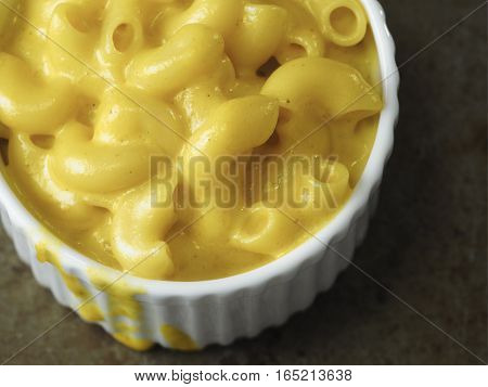 close up of rustic american english macaroni cheese