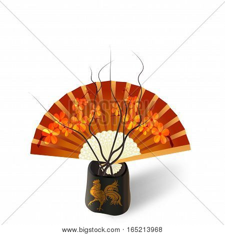 Ikebana. Composition. Figure Sakura on the fan. Isolated on white photo-realistic. vector illustration