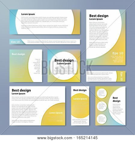 Pastel Corporate Identity Design Template Circles. Vector Company Style For Brandbook