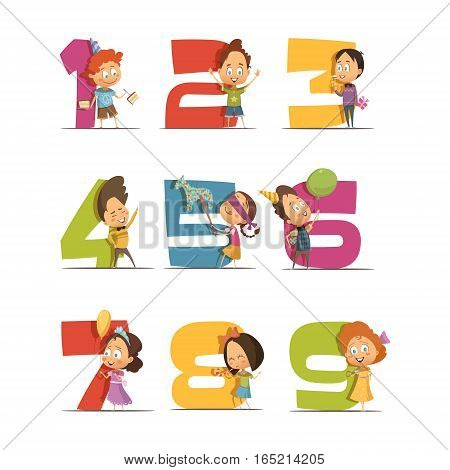 Kids party retro icons set with digits from one to nine and cartoon children figurines with balls and gifts isolated vector illustration
