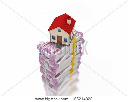 New Indian Currency with House Model - 3D Rendered Image