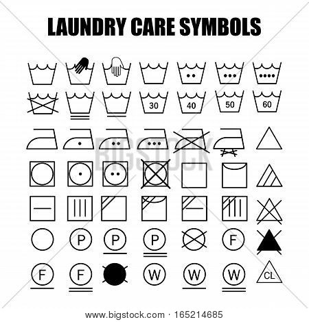 Laundry care symbols set. Wash bleach iron dry and dry clean symbols.