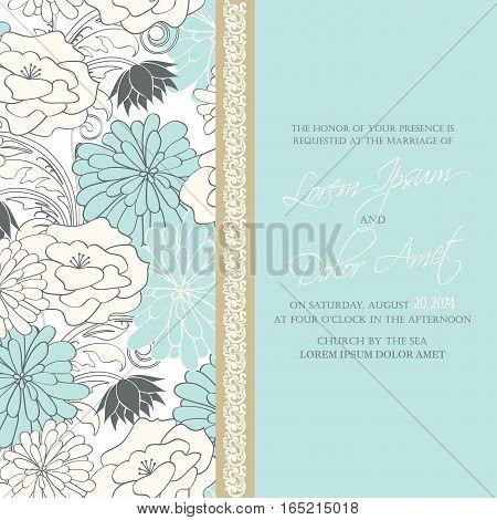 Wedding invitation or announcement fkoral decorative card