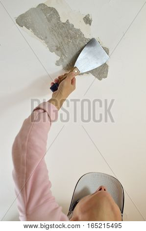 Peeling With A Plaster Spatula