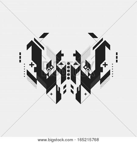 Abstract Symmetric Design Element On White Background. Geometric Modern Art Style.