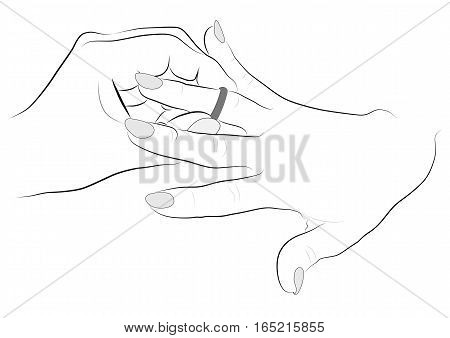 Contour drawing hands puts a ring on a finger girl- vector
