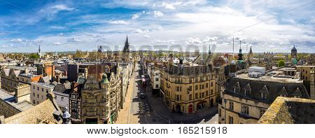 Panoramic view of the historic city of Oxford in England, UK