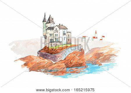 Medieval castle famous landmarks travel and tourism waercolor illustration.