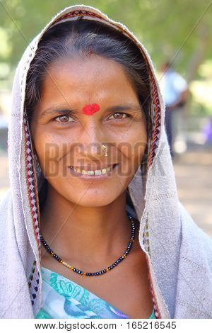 MODHERA, GUJARAT, INDIA - DECEMBER 17, 2013: portrait of a beautiful woman at Sun temple