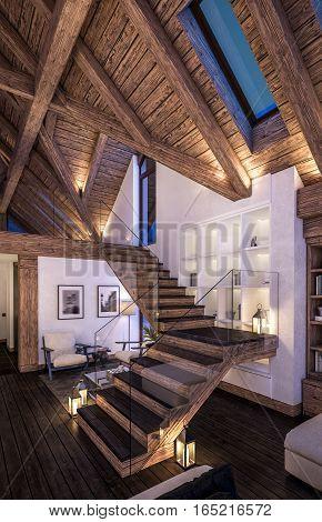3D Rendering Of Evening Living Room Of Chalet