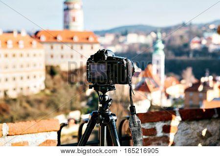 View of Cesky Krumlov, Czech Republic. Europe. Focus on camera.